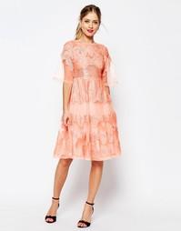 Платье миди из кружева и органзы ASOS SALON - Коралловый