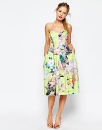 Платье бандо для выпускного с цветочным принтом ASOS SALON - Мульти