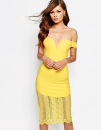 Платье-футляр с круженым низом Ginger Fizz - Желтый