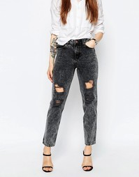 Черные мраморные джинсы в винтажном стиле ASOS ORIGINAL