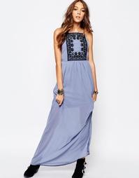 Платье макси с кружевной отделкой First & I - Кашемировый синий