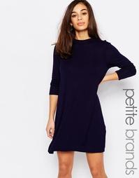 Свободное платье с высокой горловиной Boohoo Petite - Темно-синий
