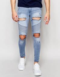Байкерские джинсы скинни с потертостями SikSilk - Светло-голубой