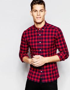 Красная облегающая рубашка в клеточку с длинными рукавами ASOS