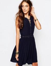 Платье с люверсами и завязкой First & I - Темно-синий