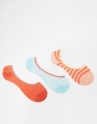 3 пары носков в полоску Penguin - Коралловый в полоску
