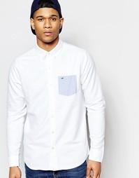 Белая оксфордская рубашка слим с контрастным белым карманом Hollister