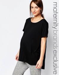 Домашняя футболка с асимметричным краем Bluebelle Maternity - Черный