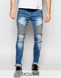 Узкие байкерские джинсы из синего стираного денима Liquor & Poker