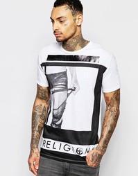 Футболка с круглым вырезом и принтом ноги Religion - Белый