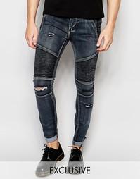 Рваные байкерские джинсы скинни выбеленного черного цвета Liquor & Pok