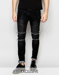 Узкие байкерские джинсы черного цвета Liquor & Poker - Чистый черный