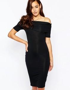 Платье миди со спущенными плечами ASOS Bardot - Черный