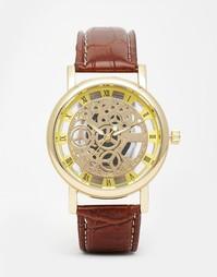 Часы с открытым механизмом и коричневым кожаным ремешком Reclaimed Vin