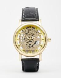 Часы с открытым механизмом и черным кожаным ремешком Reclaimed Vintage
