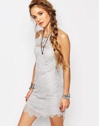 Кружевное платье-сорочка Free People She's Got It - Светло-серый