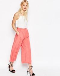 Тканая юбка-брюки со складками спереди ASOS - Коралловый