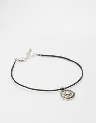 Серебристый браслет на щиколотку с подвеской-монеткой ASOS