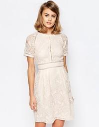 Приталенное платье с рукавами реглан и кружевными вставками Lost Ink