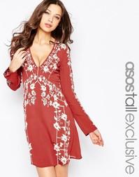 Свободное платье с вышивкой ASOS TALL - Мульти