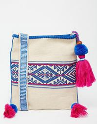 Сумка через плечо с синей вышивкой и розовыми кисточками Star Mela