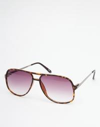 Коричневые солнцезащитные очки ASOS Navigator - Черепаховый
