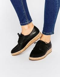 Черные туфли на плоской пробковой подошве со шнуровкой ALDO Gater
