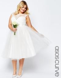 Кружевное платье миди ASOS CURVE BRIDAL - Белый