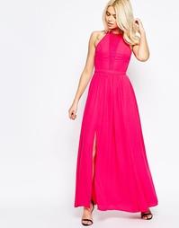 Платье макси с кружевной вставкой Girls on Film - Розовый