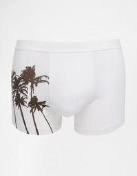 Боксеры-брифы с пальмовым принтом ASOS - Белый