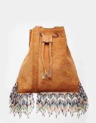Замшевая сумка через плечо с бахромой из бисера Star Mela