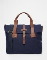 Темно-синяя парусиновая сумка-сэтчел с контрастной отделкой ASOS