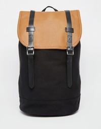 Черный брезентовый рюкзак со светло-коричневой отделкой ASOS - Черный
