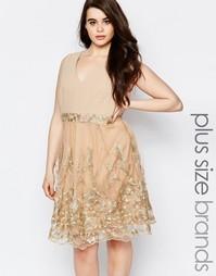 Короткое приталенное платье с кружевной отделкой Lovedrobe Plus
