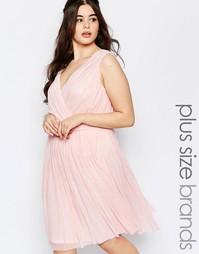Платье для подружки невесты со складками и запахом спереди Lovedrobe P