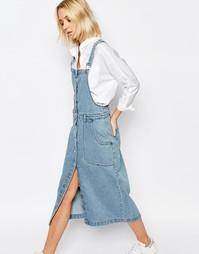 Джинсовое платье-комбинезон с пуговицами спереди ADPT - Синий