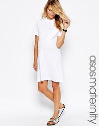 Платье-футболка с высокой горловиной ASOS Maternity - Белый
