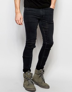 Супероблегающие джинсы с нашивками и D-образными кольцами Dark Future