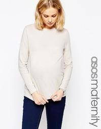 Лонгслив в льняном стиле для беременных ASOS Maternity - Серый