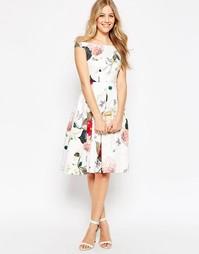 Платье миди для выпускного с цветочным принтом и открытыми плечами ASO Asos