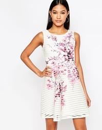 Короткое приталенное платье с цветочным принтом и полосками Lipsy