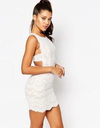 Кружевное платье мини с фигурной спинкой Love - Белый