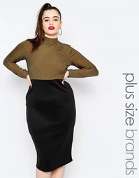 Платье-футляр в стиле колор блок Missguided Plus - Хаки