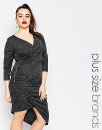Облегающее платье размера плюс с запахом Missguided - Серый