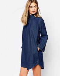 Джинсовое платье-туника с высоким воротом Rollas - Синий