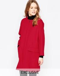 Красное пальто на молнии спереди Helene Berman - Красный