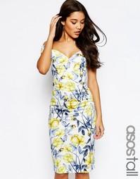 Платье-футляр миди с открытыми плечами и желто-синим цветочным принтом Asos Tall