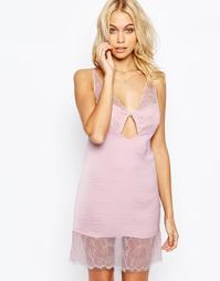 Сорочка мини с изысканной кружевной вставкой ASOS Maria - Розовый