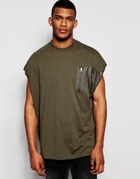 Oversize-футболка цвета хаки без рукавов и с карманом в стиле милитари Asos