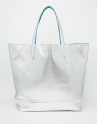 Двусторонняя сумка-тоут сине-зеленой и серебристой расцветки Pauls Bou